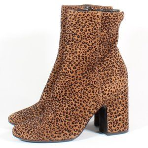 AGL Suede Heel Boots Cheetah Print Ankle New